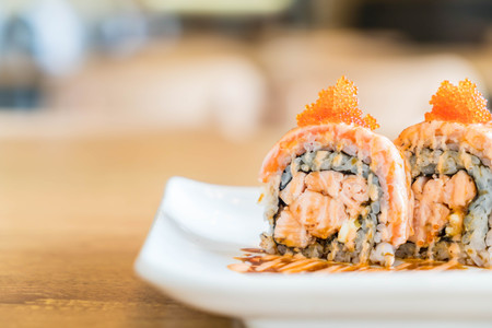sushi roll with salmon - japanese food style