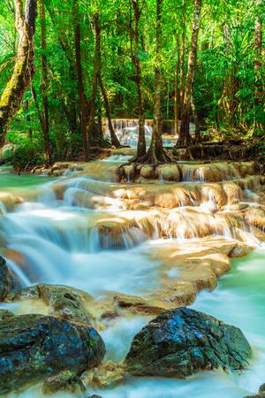 Beautiful Erawan Waterfall, Erawan National Park at Kanchanaburi in Thailand