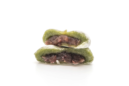 green tea mochi with red bean isolated on white background