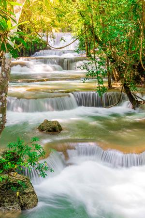 Beautiful Huay Mae Kamin Waterfall at Kanchanaburi in Thailand
