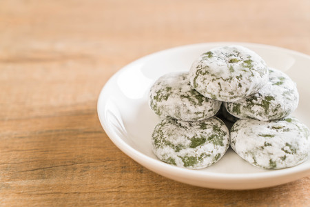 green tea mochi with red bean - Japanese traditional dessert