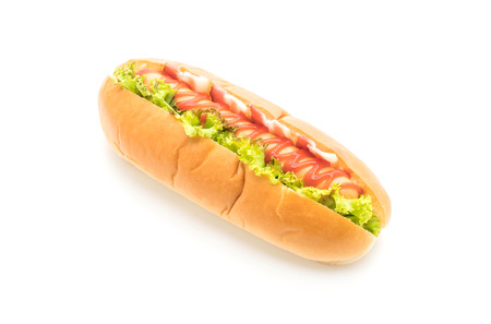 sausage hotdog with ketchup isolated on white background