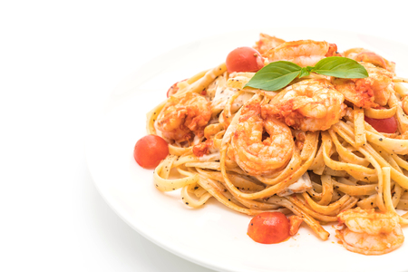 spaghetti with shrimps and tomatoes on white background Archivio Fotografico
