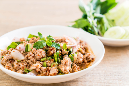 spicy mince pork (Larb - Traditional Thai Food) on the table Stock fotó