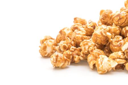 popcorn with caramel isolated on white background
