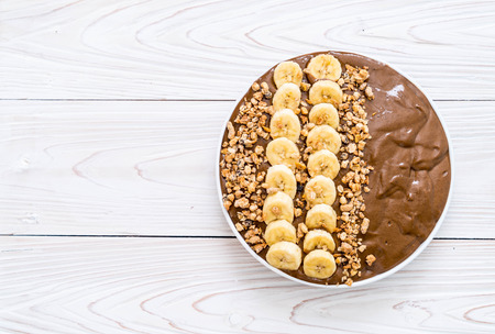 chocolate smoothies bowl - healthy food style