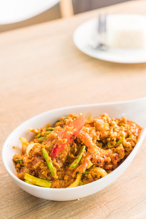 Stir-fried Soft-shelled Crab in Curry Powder on plate