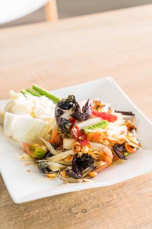 spicy papaya salad (som tum) with crab