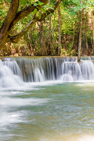 Beautiful Huay Mae Kamin Waterfall at Kanchanaburi in Thailand