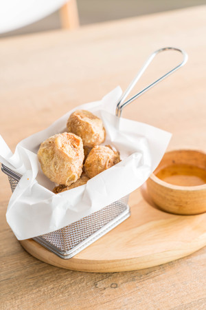 Deep Fried Crab Shell Roll with sauce Stock Photo