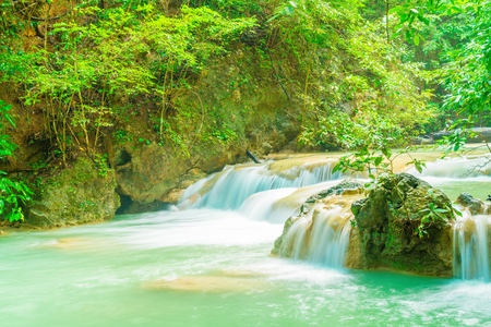 Beautiful Erawan Waterfall, Erawan National Park at Kanchanaburi in Thailand Archivio Fotografico - 92769347