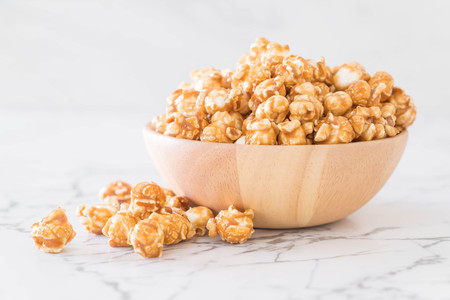 popcorn with caramel in bowl Stock Photo