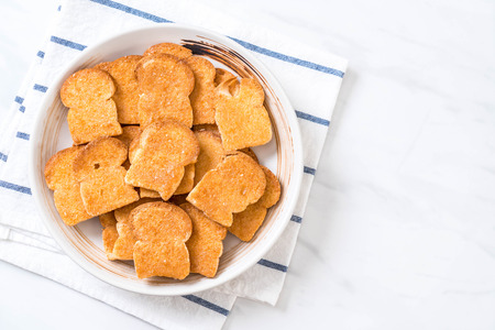 baked toast garlic bread on plate Stock Photo