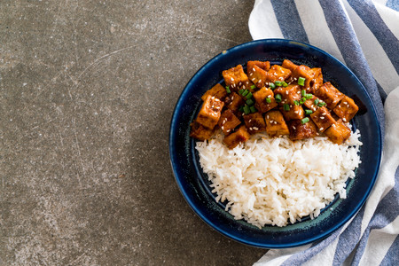 stir fried tofu with spicy sauce - healthy and vegan food style Stock fotó - 93004998