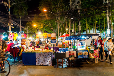 Chiang Mai, Thailand - Jan 1, 2018 : Tourists traveling at Night Market in Chiang Mai, Thailand. Editorial