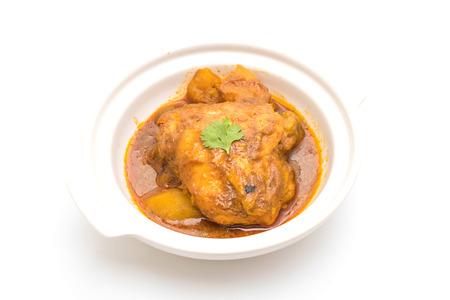 pâte de curry au curry au curry avec du riz isolé sur fond blanc