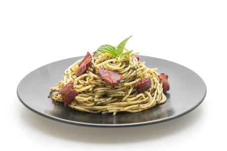 spaghetti cream cheese with bacon - Italian food style Stok Fotoğraf