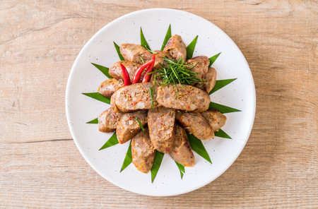Notrhern Thai Spicy Sausage - traditional thai food Stock Photo