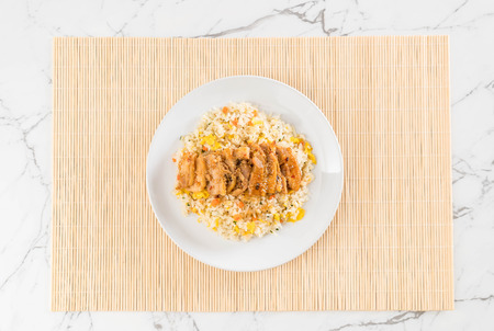 fried rice with grilled chicken and teriyaki sauce - japanese style