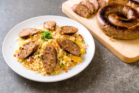 Fried Rice with Notrhern Thai Spicy Sausage on plate