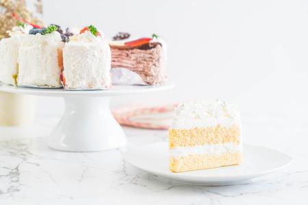 vanilla cake isolated on white background