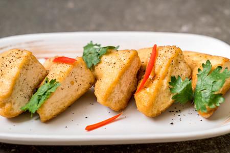 fried tofu - vegan or vegetarian food 写真素材