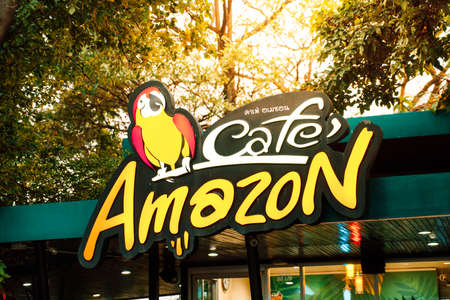 Samuthsakorn, THAILAND - Feb 13 : Cafe Amazon beverage shop at PTT Oil station on Feb 13, 2018 in Saraburi, THAILAND. Its a famous Thai franchise coffee house in Thailand.