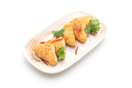 fried tofu - vegan food isolated on white background Stock fotó - 95600958