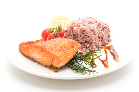 Salmon Steak with Berry Rice isolated on white background
