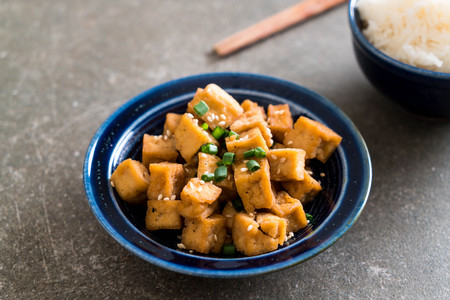Fried Tofu in a bowl with sesame - healthy and vegan food style Stock fotó - 96158726
