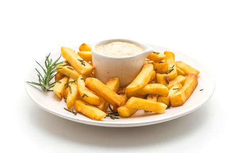 french fries with sauce isolated on white background Foto de archivo