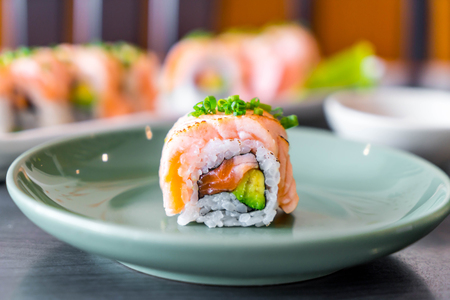 grilled salmon sushi roll - japanese food style Stock Photo