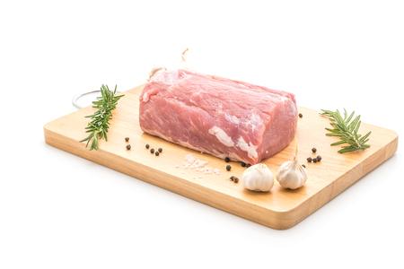 fresh pork raw fillet isolated on white background