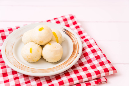 Chinese pastry cake on plate Stock Photo
