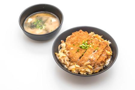 fried pork cutlet rice bowl (Katsudon) isolated on white background
