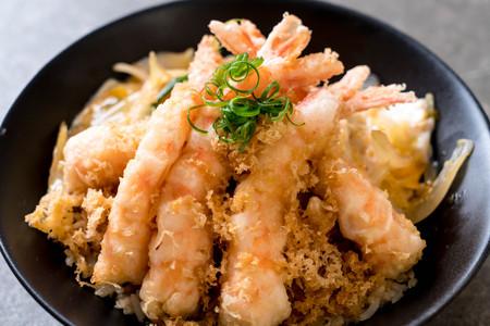 fried shrimps tempura on topped rice bowl - Japanese food style