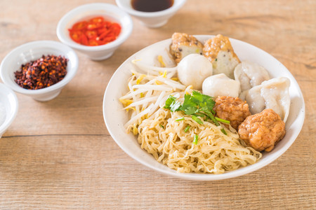 noodles bowl with fish ball - Asian food style Stock Photo