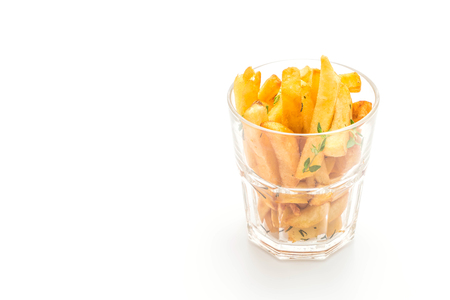 french fries with sauce isolated on white background Stock Photo