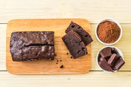 chocolate brownie cake on wood background 写真素材