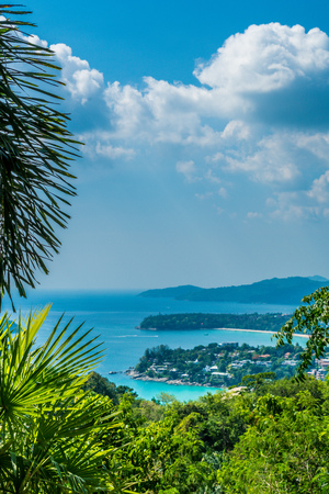 Tropical beach skyline at Karon view point in Phuket, Thailand - Holiday vacations concept