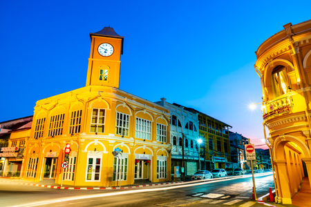Phuket, Thailand , April 18, 2018 : Phuket old town with old buildings in Sino Portuguese style is a very famous tourist destination of Phuket in Thailand. 報道画像