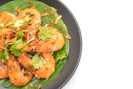 fried shrimp with garlic isolated on white background Stock Photo