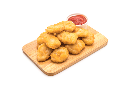 Chicken nuggets with sauce isolated on white background