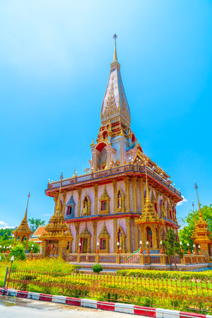beautiful architecture at Chaitararam  Temple in Phuket, Thailand
