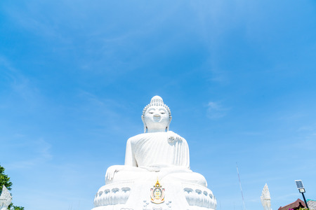 White Marble Big Buddha with blue sky in Phuket, Thailand 写真素材