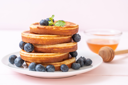 souffle pancake with fresh blueberries Stock Photo
