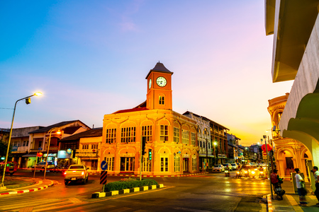 Phuket, Thailand , April 18, 2018 : Phuket old town with old buildings in Sino Portuguese style is a very famous tourist destination of Phuket in Thailand.