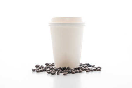 Paper cup of takeaway coffee isolated on white background Stock Photo