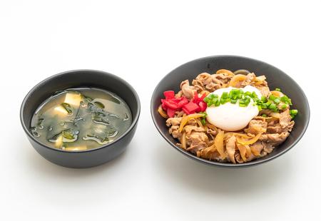 pork rice bowl with egg (Donburi) isolated on white background - japanese food style
