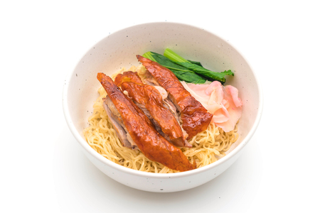 roasted duck noodles isolated on white background Reklamní fotografie